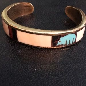 Brass over silver Inlay Cuff Bracelet